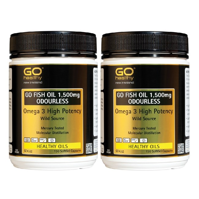 GO Fish Oil 1500mg Odourless (Twin Pack)