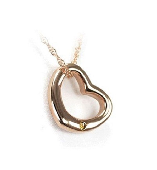 Curved Heart Pendant-Rose Gold