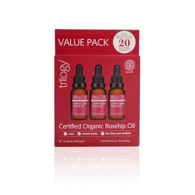 Certified Organic Rosehip Oil – Value Pack